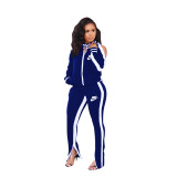 Casual Blue Cold Shoulder Printed Two Piece Sportswear Set