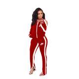 Casual Red Cold Shoulder Printed Two Piece Sportswear Set
