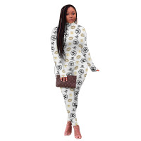 Casual White High Neck Printed Women Sets Two Piece