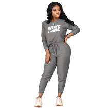 Women Grey Fall Clothes Printed Sports Drawstring Trousers Set with Pockets