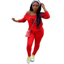 Autumn Red Tracksuit Clothing Set Printed Women Sweat Suit Set