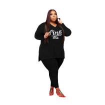 Fat Women Printed V-neck Plus Size 5XL Split Two Piece Clothing Set