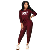 Women Wine Red Fall Clothes Printed Sports Drawstring Trousers Set with Pockets