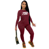 Fall Wine Red Printed Nike Stacked Pants Sets For Women