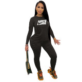 Fall Black Printed Nike Stacked Pants Sets For Women