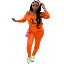Autumn Orange Tracksuit Clothing Set Printed Women Sweat Suit Set