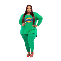 Fat Women Printed Plus Size 5XL Split Two Piece Outfits