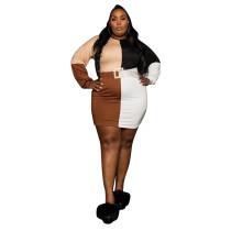 Plus Size Women Color Block Shirt Dress