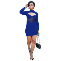Autumn Royal Blue Office Work Stitching Club Dress with Hollow