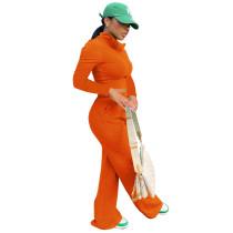 Autumn Winter Orange Long Sleeve High Neck Zipper Crop Top and Wide-leg Long Pants