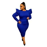 Sexy Blue Zipper Puff Sleeve Plus Size Women Mid Dresses