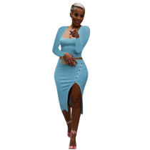 Solid Color Square Neck Crop Top & Slit Midi Skirt Set