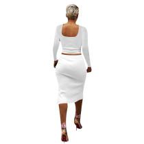 Solid Color White Square Neck Crop Top & Slit Midi Skirt Set