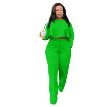 Autumn Solid Green High-Low Top & Pants Set