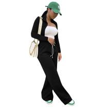 Autumn Winter Black Long Sleeve High Neck Zipper Crop Top and Wide-leg Long Pants