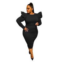 Sexy Black Zipper Puff Sleeve Plus Size Women Mid Dresses