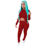 Red Two-piece Women Set O Neck Double-layered Slits Blouse and Trouser
