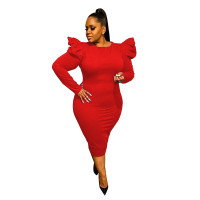 Sexy Red Zipper Puff Sleeve Plus Size Women Mid Dresses
