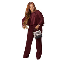Autumn Solid Wine Red High-Low Top & Pants Set