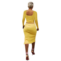 Solid Color Yellow Square Neck Crop Top & Slit Midi Skirt Set