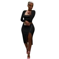 Solid Color Black Square Neck Crop Top & Slit Midi Skirt Set