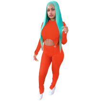 Orange Two-piece Women Set O Neck Double-layered Slits Blouse and Trouser