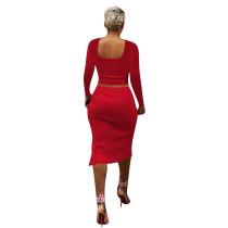 Solid Color Red Square Neck Crop Top & Slit Midi Skirt Set