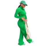 Autumn Winter Green Long Sleeve High Neck Zipper Crop Top and Wide-leg Long Pants