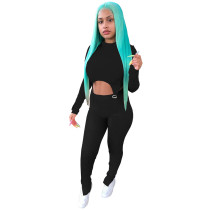Black Two-piece Women Set O Neck Double-layered Slits Blouse and Trouser