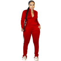 Women Red Pantsuit High Off Life Sweatpants Fall Clothes Sweat Suit Set
