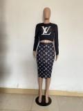 Autumn Black Printed Letter Midi Skirt Two Piece Set