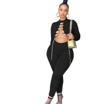 Autumn Sexy Black Chain Bandage Tight Jumpsuit