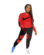 Casual Autumn Red/Black Brand Clothing Embroidery Hoodie Set for Women