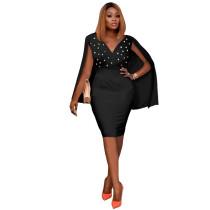 Autumn Sexy Black Sleeveless V Neck Bodycon Dress with Cape