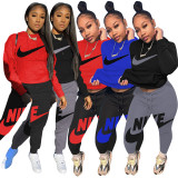 Casual Autumn Black/Grey Brand Clothing Embroidery Hoodie Set for Women