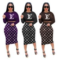 Autumn Purple Printed Letter Midi Skirt Two Piece Set