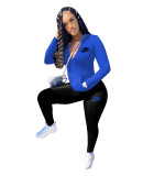 Cotton Blue Sports Embroidery Pant Clothing Set with 4 Pockets