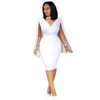Autumn Sexy White Sleeveless V Neck Bodycon Dress with Cape