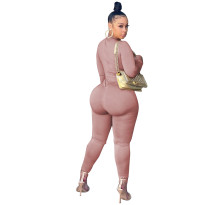 Autumn Sexy Apricot Chain Bandage Tight Jumpsuit