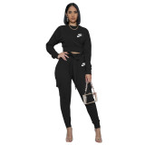 Casual Black Nike Clothes Pyrography Letter Pockets Fall Set with Belt Drawstring