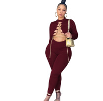 Autumn Sexy Wine Red Chain Bandage Tight Jumpsuit