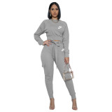 Casual Grey Nike Clothes Pyrography Letter Pockets Fall Set with Belt Drawstring