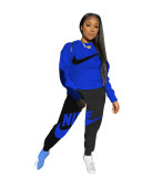 Casual Autumn Blue/Black Brand Clothing Embroidery Hoodie Set for Women