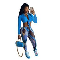 Fall 2021 Blue Clothing Vendors Bandage Shirt Printed Crop Top 2 Piece Set