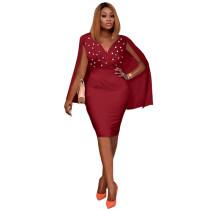 Autumn Sexy Wine Red Sleeveless V Neck Bodycon Dress with Cape