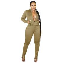 Women Khaki Pantsuit High Off Life Sweatpants Fall Clothes Sweat Suit Set
