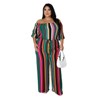 Sexy Colorful Striped Off Shoulder Jumpsuit with Wide Leg
