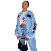 Autumn Women Light Blue Printed Baseball Crop Jacket