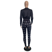Casual Black Printed Dyed Two Piece Women Clothing Sets