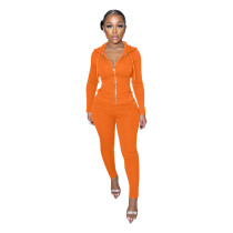 Casual Orange Hoodie Zipper Long Sleeve Sports Two Piece Outfits Set
